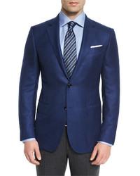 Ermenegildo Zegna Solid Cashmere Two Button Blazer Blue