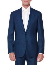 Stefano Ricci Textured Peak Lapel Wool Blend Suit Navy