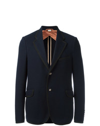 Gucci Two Button Textured Blazer Blue