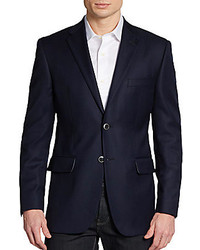 Saks Fifth Avenue BLACK Two Button Wool Classic Fit Blazer