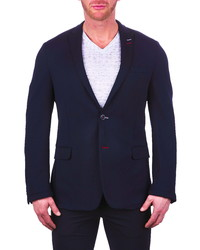 Maceoo Unconstructed Navy Stretch Scuba Blazer