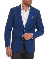 Robert Graham Woven Wool Blend Sport Coat Blue