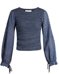 See by Chloe See By Chlo Broderie Anglaise Blouson Sleeved Top