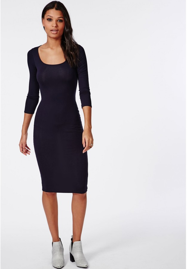 0a5c13699e15 Missguided 34 Sleeve Scoop Neck Bodycon Midi Dress Navy, $24 | Missguided |  Lookastic.com