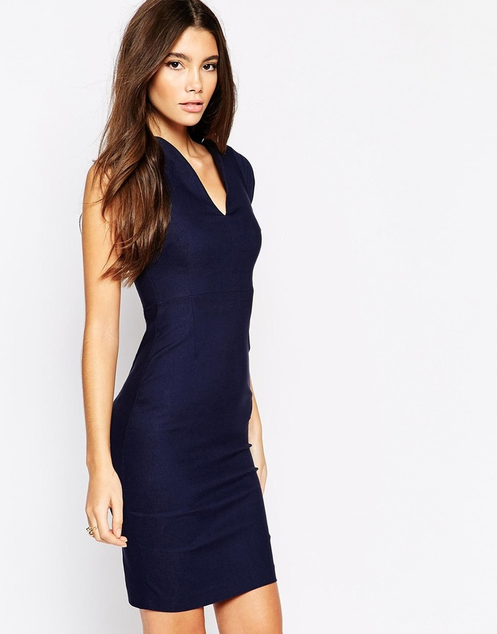 Vesper Sexy Pencil Dress With Plunge Neck And Curved Cap Sleeve ...