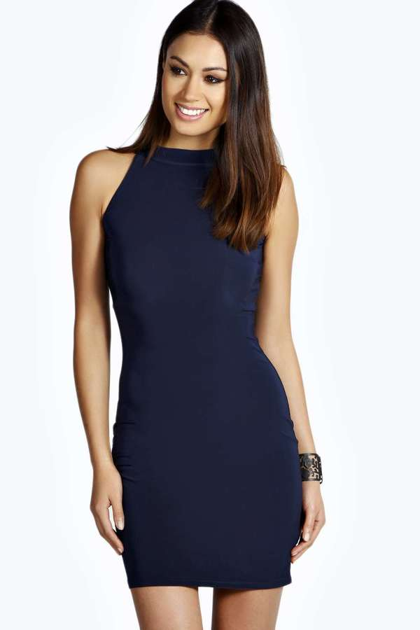 0906e75c51dd Boohoo Lisa High Neck Slinky Mini Dress, $16 | BooHoo | Lookastic.com