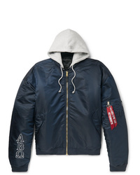 Vetements Alpha Industries Oversized Reversible Embroidered Shell Hooded Bomber Jacket