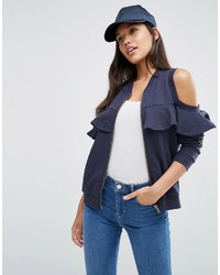 Asos Bomber Jacket With Ruffle Cold Shoulder