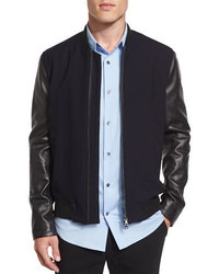 Vince City Varsity Leather Bomber Jacket Navy