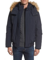 Andrew Marc Insulated Bomber Jacket With Faux Fur Trim