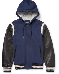 Marc by Marc Jacobs Leather Sleeved Twill Varsity Jacket