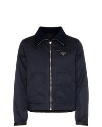 Prada Logo Plaque Detachable Sleeve Cotton Blend Bomber Jacket