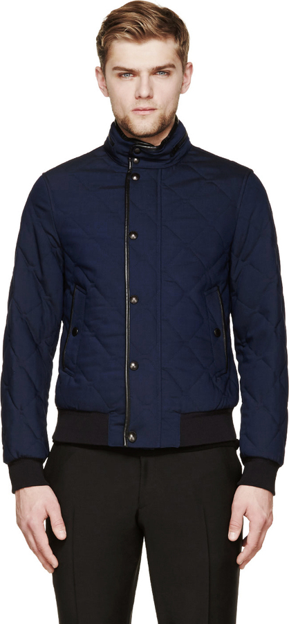 Burberry London Navy Quilted Bomber Jacket Where To Buy How To Wear