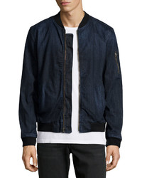 AG Adriano Goldschmied Long Sleeve Denim Bomber Jacket Dark Blue