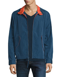 Andrew Marc Marc New York By Barracuda Cloth Rain Bomber Jacket Blue