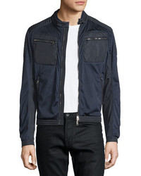 Moncler Mesh Zip Up Moto Bomber Jacket Navy