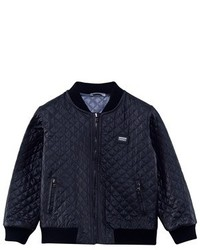 Dolce & Gabbana Navy Quilted Bomber Jacket