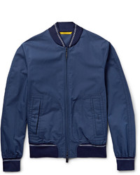 Canali Rain Wind Tech Cotton And Silk Blend Bomber Jacket