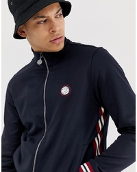 Pretty Green Ribbed Track Top In Navy