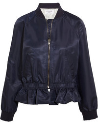 Ruffled shell bomber jacket navy medium 3947411