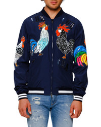 Dolce & Gabbana Sequined Satin Rooster Bomber Jacket Navy