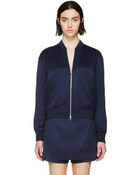 Alexander Wang T By Ink Blue Silk Twill Bomber Jacket