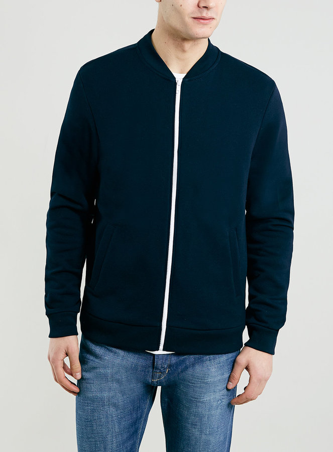 Topman Navy Jersey Bomber Jacket | Where to buy & how to wear