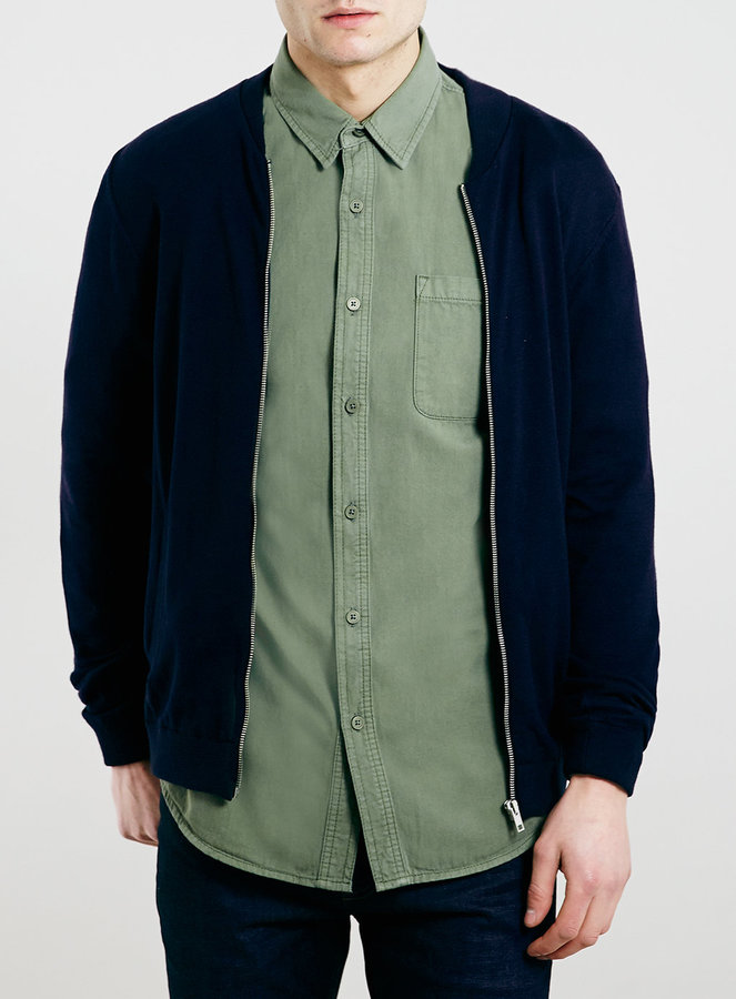Topman Navy Knitted Jersey Bomber Jacket | Where to buy & how to wear