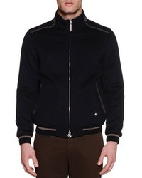 Stefano Ricci Zip Up Cashmere Bomber Jacket Navy