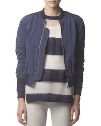 Acne Studios Zip Up Tech Fabric Bomber Jacket Midnight Blue