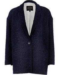 River Island Navy Boucle Oversized Coat