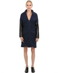 Wool Boucle And Nappa Leather Coat