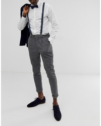 24911201403a ASOS DESIGN Brace And Bow Tie Set In Navy With Grid Print
