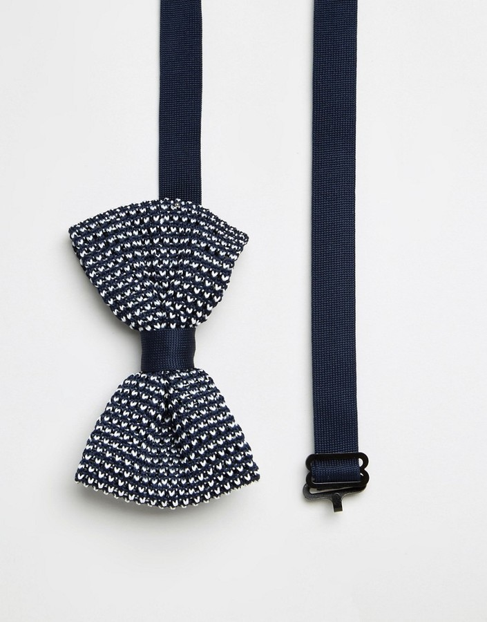 Asos Brand Wedding Knitted Bow Tie In Navy Where To Buy How To Wear