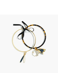 J.Crew Flower Charm Bangle Set