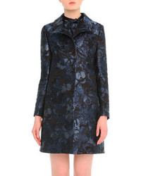 Valentino Butterfly Print Brocade Button Coat