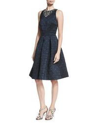 David Meister Brocade Fit And Flare Cocktail Dress