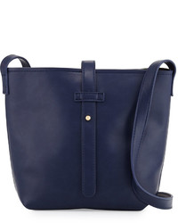 Neiman Marcus Structured Crossbody Bucket Bag Navy