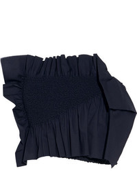 Cédric Charlier Ruffled Smocked Stretch Cotton Poplin Bustier Top Navy