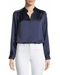 L'Agence Bianca Silk Charmeuse Button Down Blouse
