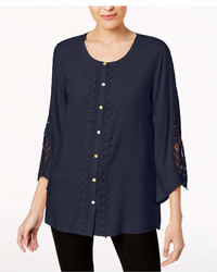 JM Collection Lace Trim Blouse Created For Macys