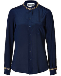 Moschino Silk Blouse With Chainlink Trim