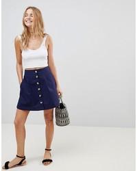 ASOS DESIGN Asos Cotton Mini Skater Skirt With Button Front