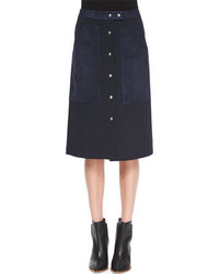 Theory Slyn Fixture Button Front Ponte Skirt Navy