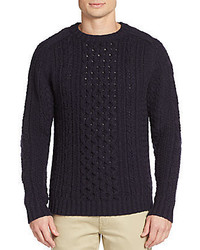 Billy Reid Cable Knit Camel Hair Sweater