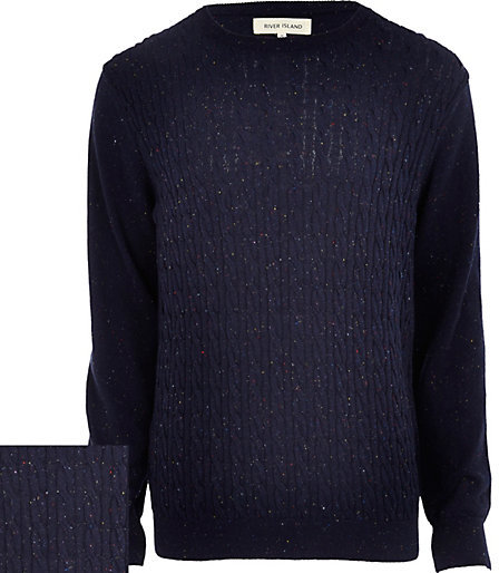 River Island Blue Neppy Cable Knit Sweater Where To Buy How To Wear