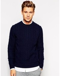 Boss Orange Sweater With Cable Knit Navy