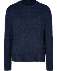 Polo Ralph Lauren Cable Cotton Pullover In Hunter Navy