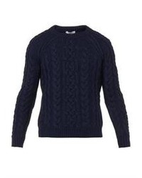 Valentino Cable Knit Navy Virgin Wool Sweater