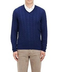 Malo Cable V Neck Sweater Blue